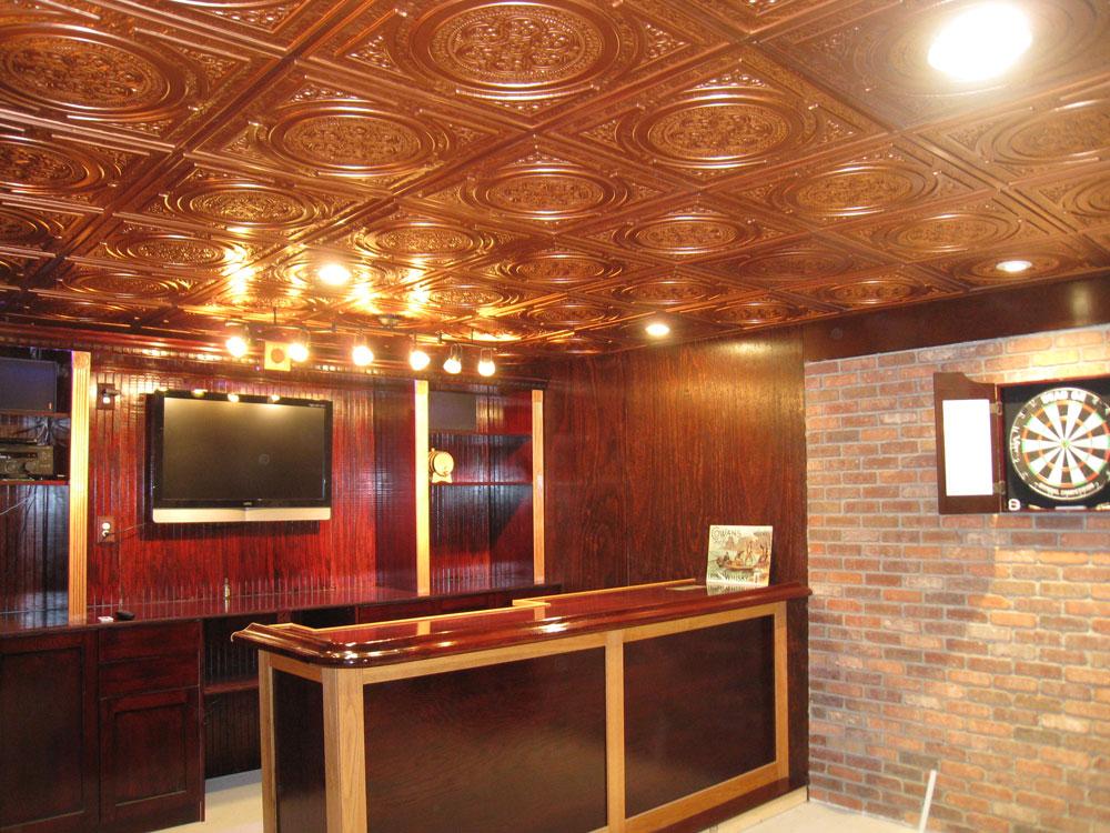 Steampunk Faux Tin Ceiling Tile 24x24 225 Copper