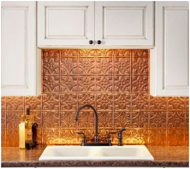 Copper Tin Tile Backsplash