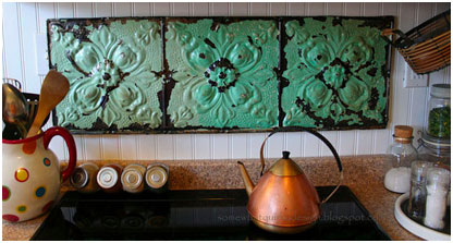 Repurposed Ceiling Tin Tile Backsplash
