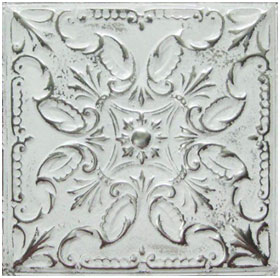 Whitewashed Tin Tile Backsplash