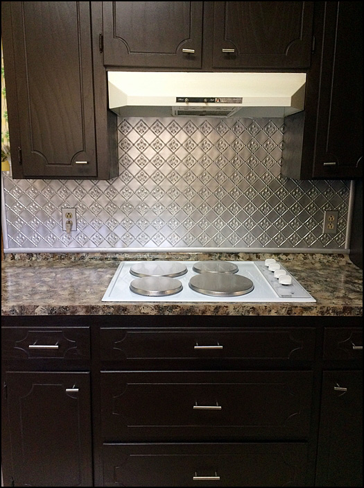 Fleur de Lis - 3 in Pattern - Faux Tin Backsplash Roll - #WC 80 - Silver