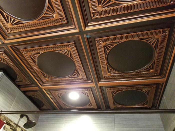 Faux Tin Ceiling Tile – Drop In – #266 - Antique Copper