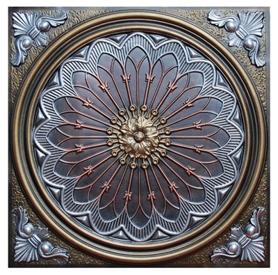 Rose Window II - FAD Hand Painted Ceiling Tile - #CTF-007-2