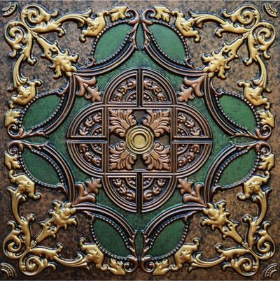 Golden Prague II - FAD Hand Painted Ceiling Tile - #CTF-016-2