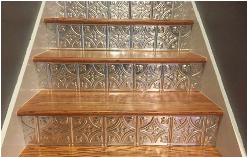 How to Install Faux Tin Ceiling Tiles on Stairs Image