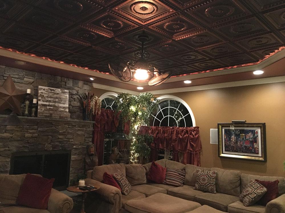 Laurel Wreath – Faux Tin Ceiling Tile – #210 - Antique Copper