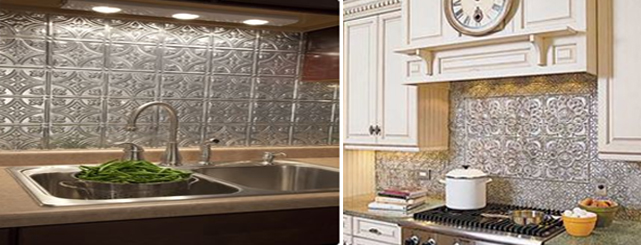 Install Tin Tile Backsplash