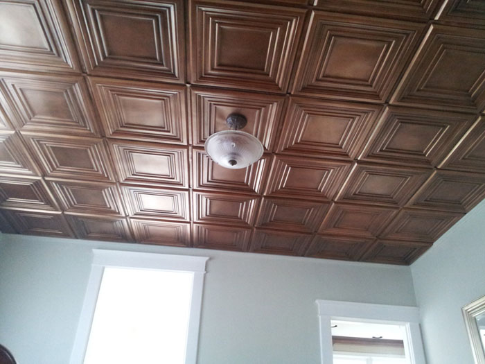 Aged Copper Ceiling at Historic Home - Aged Copper