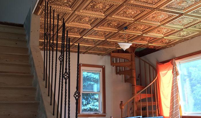 """La Scala – Faux Tin Ceiling Tile – 24""""x24"""" – #223 - Antique Gold"""