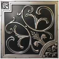 """Lilies and Swirls - Faux Tin Ceiling Tile - 24""""x24"""" - #204 - Antique Silver"""