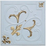 """Lilies and Swirls - Faux Tin Ceiling Tile - 24""""x24"""" - #204 - White Matte Gold"""