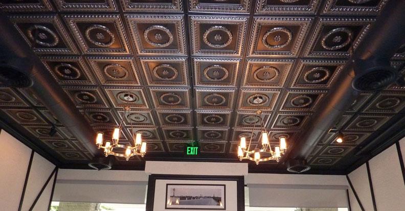 Laurel Wreath - Faux Tin Ceiling Tile - #210 - Antique Brass