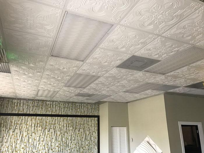 Large Snowflake – Faux Tin Ceiling Tile – 24x24 – #206 - White Matte