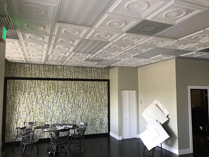 Laurel Wreath – Faux Tin Ceiling Tile – #210 - White Matte