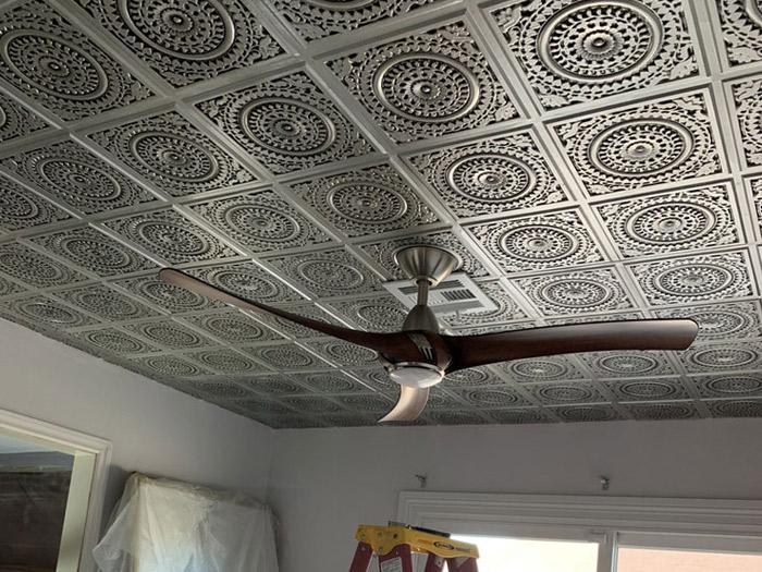 Grandma's Doilies Quartet – Faux Tin Ceiling Tile – Glue up – 24x24 – #117 - Antique Silver