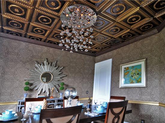 Laurel Wreath – Faux Tin Ceiling Tile – #210 - Brushed Brass