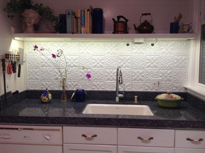 Flower Power - Aluminum Backsplash Tile - #0612 - Polar White