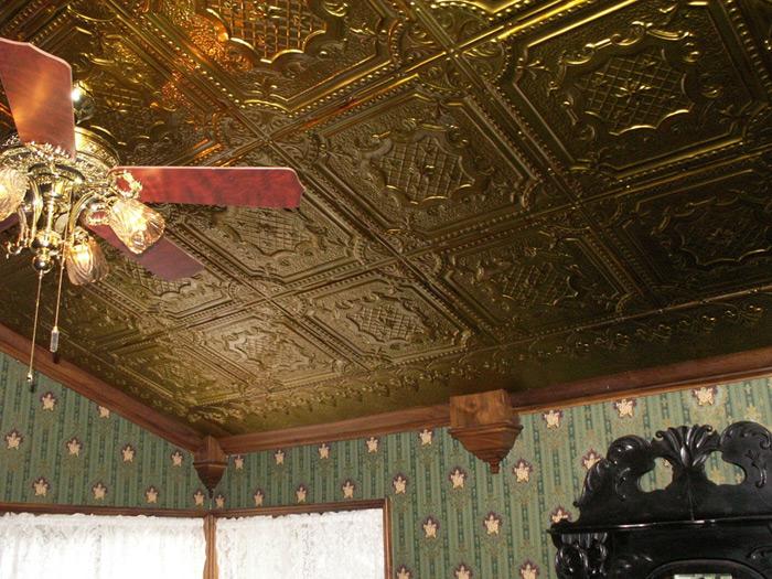Elizabethan Shield – Copper Ceiling Tile – 24 in x 24 in – #2421 - Antique Brass