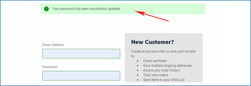 Easy Returns - Now Your Account Password is Changed