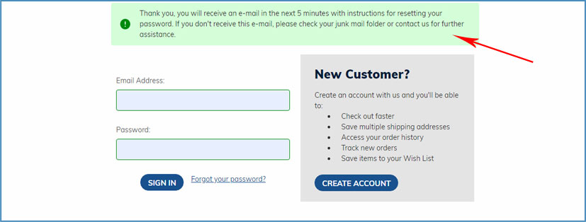 Easy Returns - Send Password Reset Link from Your Mail