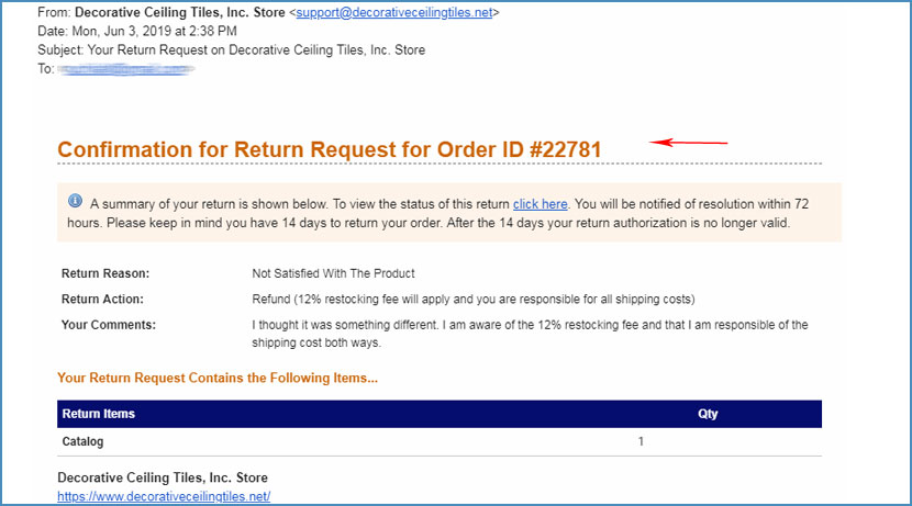 Easy Returns - Wait for Confirmation of Return Request