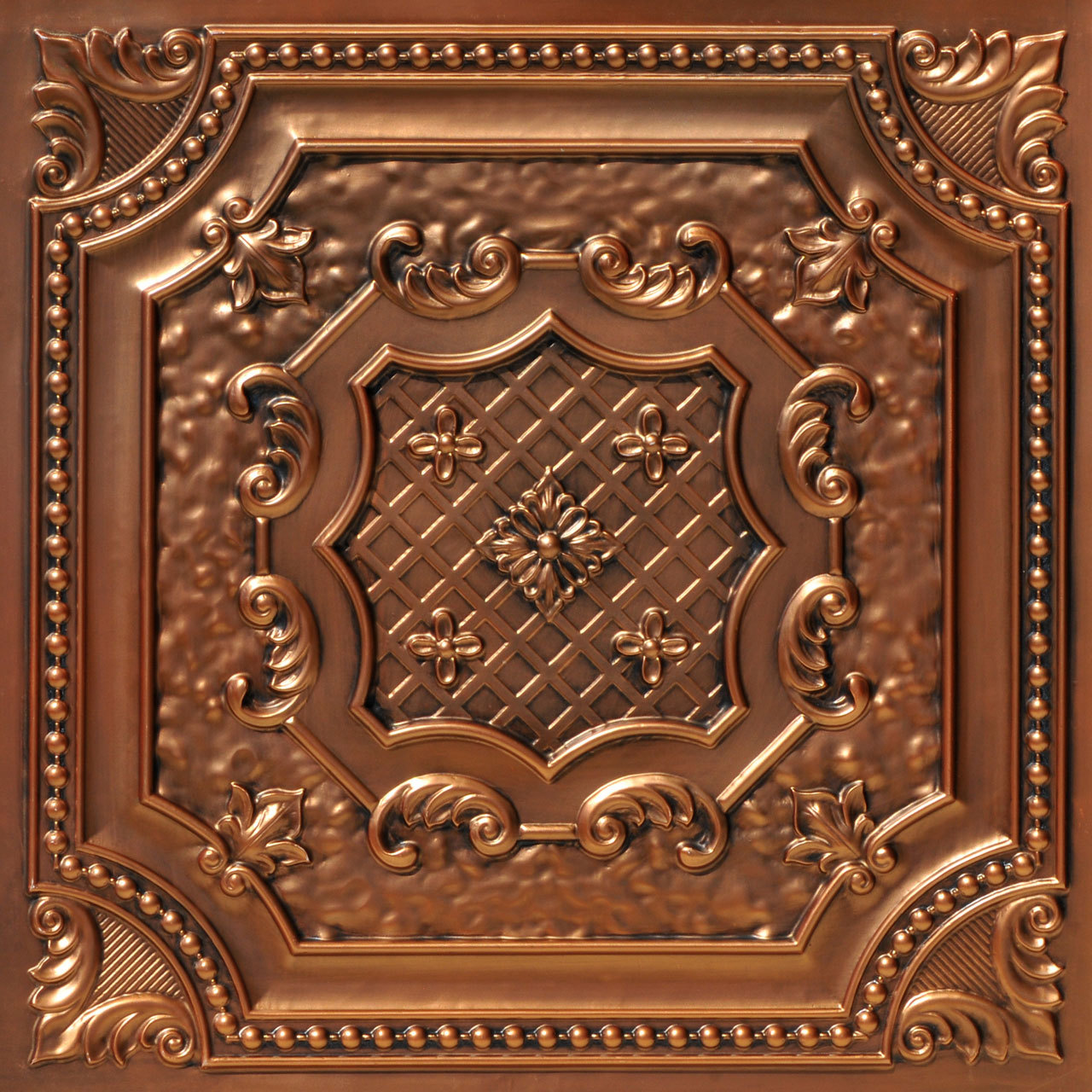 3d Antique Copper ceiling tile made from PVC was used as a floor tile in photography.