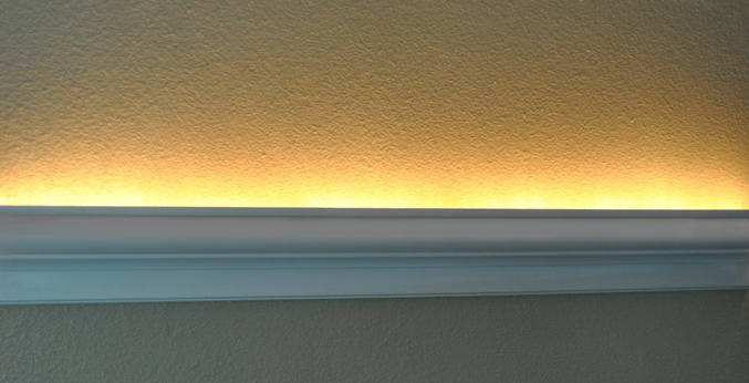 Install raceway wires led rope and indirect lighting in foam crown crown molding with lay in led easy aloadofball Choice Image