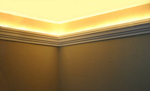 Install raceway wires led rope and indirect lighting in foam crown incandescent rope lights aloadofball Choice Image