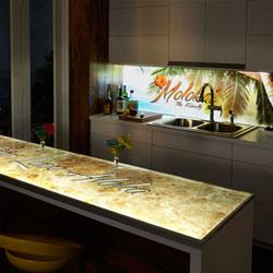 Led Backlit Kitchen Backsplashes Countertops And Barfronts