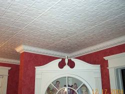 1204 White Tin Ceiling Tiles Nail up Installed
