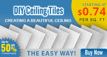 Creating a Beautiful Ceiling, the Easy Way! DIY Ceiling Tiles Starting at $0.74 per Sq. Ft. Up to 50% off