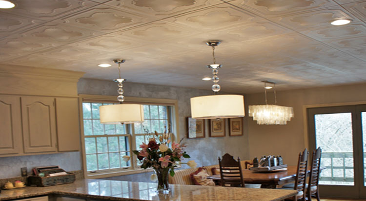 Bella Tucker Decorative Finishes of Tennessee have use our decorative ceiling tiles to cover popcorn in their kitchen and living room.
