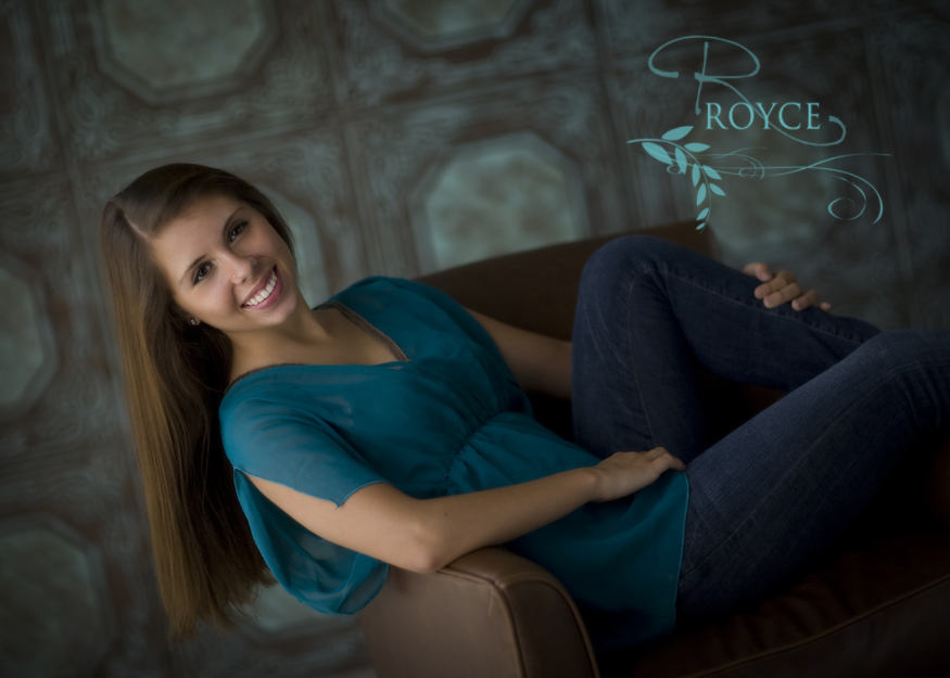 Hand painted Styrofoam Ceiling Tiles used as a backdrop in the portrait of this beautiful senior.