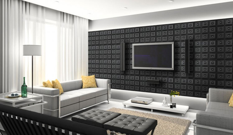 Faux Leaather Tiles - Black Diamond with Crystals are installed as a wall decor behind a flat screen tv.