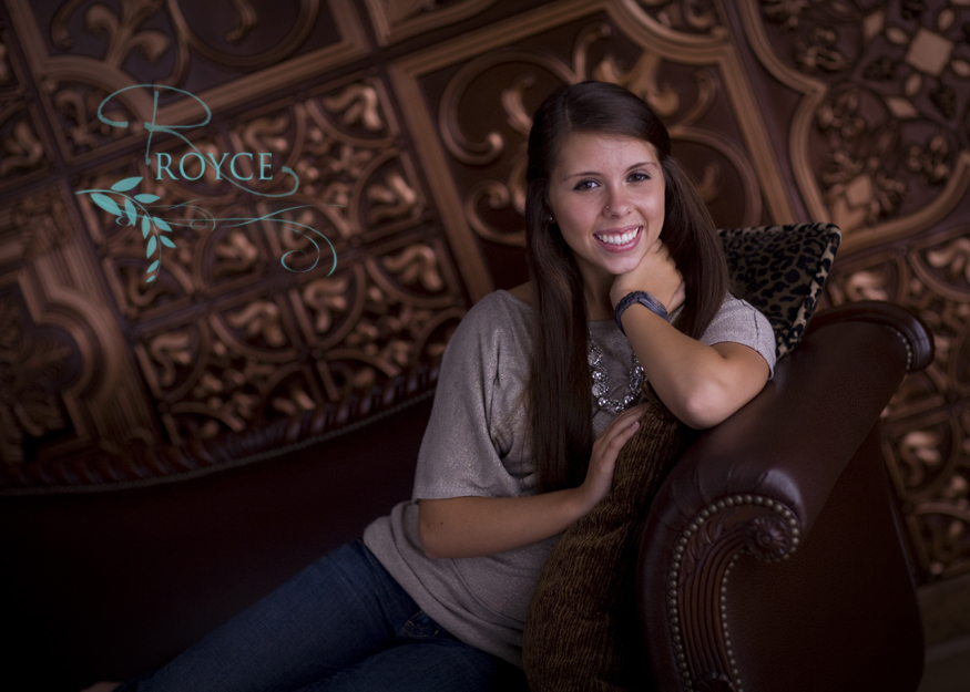 Beautiful senior image using decorative ceiling tiles as a backdround by royce photography
