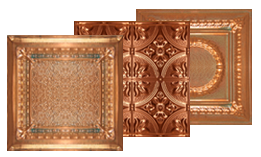 Image shows 3 of our Solid Copper Ceiling Tiles.